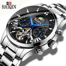 HAIQIN men watches top brand luxury steel wristwatches automatic tourbillon mechanical watch fashion classic men watch