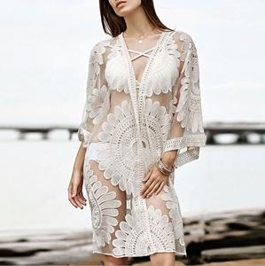 Casual Losse bikini cover up lace sexy vakantie strand bikini blouse