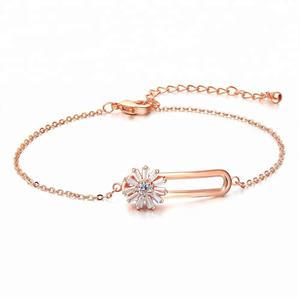 Or Rose Fleur Bracelet 2018 Mode Bijoux jh 18K Bijoux En Or
