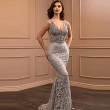 Silver Lace Evening Dresses 2019 Prom Dress Mermaid Women Girls Party Dresses Long Evening Gown