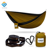 double Portable lightweight Parachute Nylon Fabric Camping Hammock with tree straps SS carabibers and adjustable Cinch Buckle
