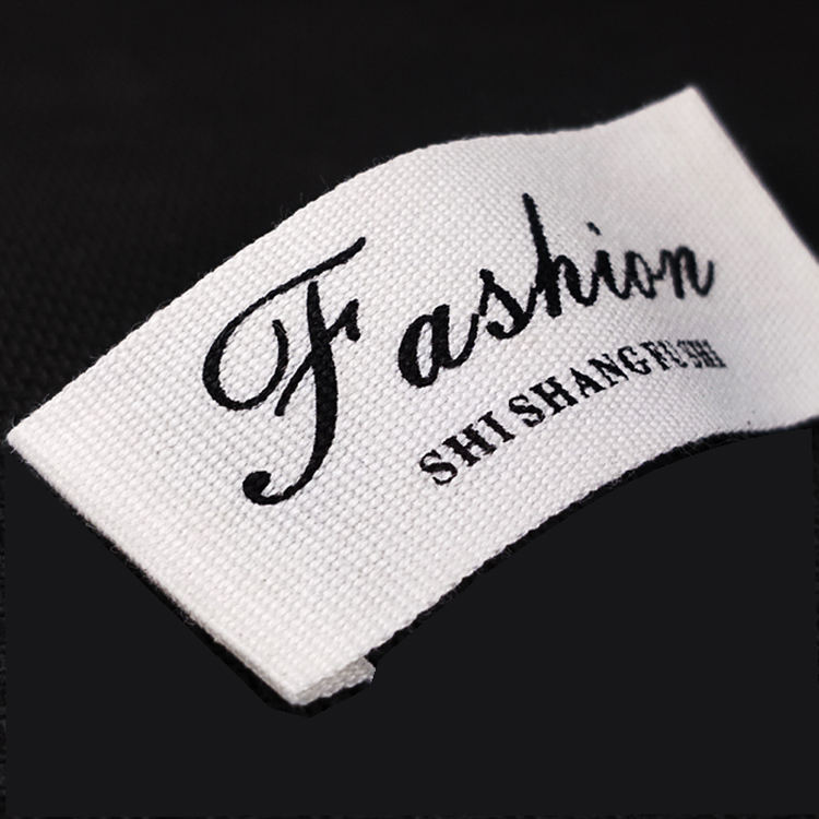 custom label brand logo size tags manufacturers kids tags soft woven satin canvas garment cotton label for baby clothes