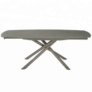 Modern style furniture painted glass top expandable metal dining table with 4 legs