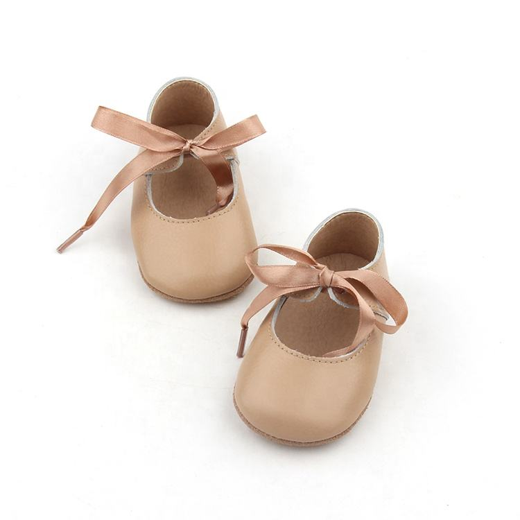 BEIBEINOYA Factory Baby Girl Shoes Leather Lacing Party Christian Mary Jane Flats Dress Shoes