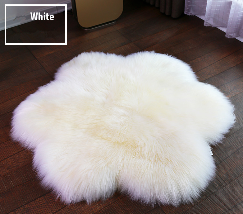 Australian Flower Shape Pure White Sheepskin Rugs / Goat Hair Rug / Long Hair Sheepskin Rug