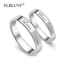 ELBLUVF 925 Sterling Silver Love Forever couple ring eternal love Jewelry Adjustable For Wedding / Engagement / Anniversary