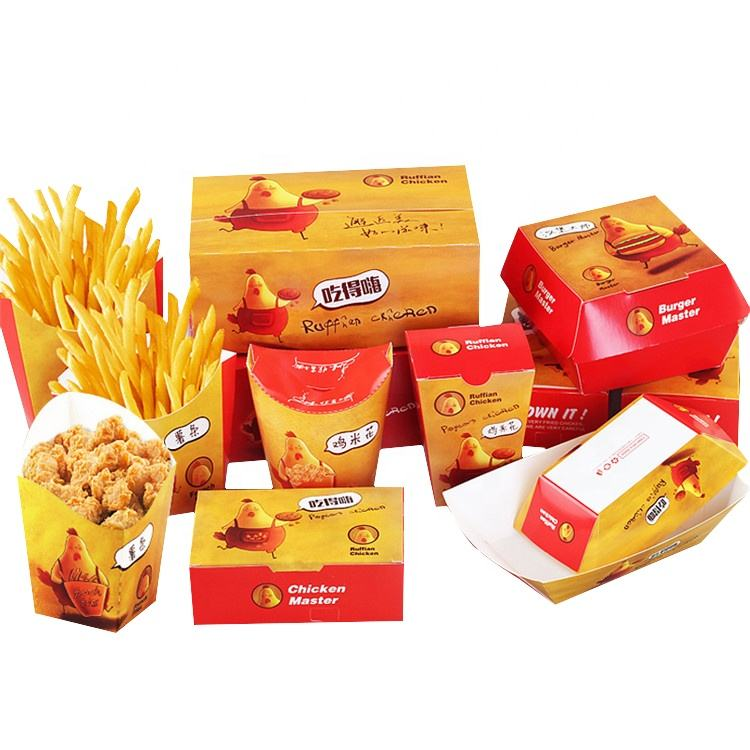 Hot sale cardboard paper fast food carton box for packing