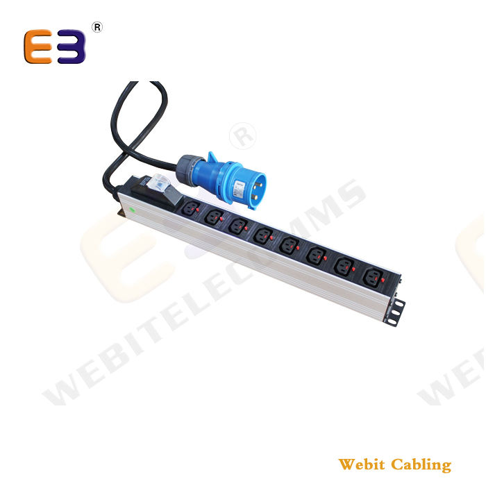 "19'' Rack PDU 8 way IEC C13 PDU +16A Commando Industrial Plug 1U 19"" Power Distribution Unit"