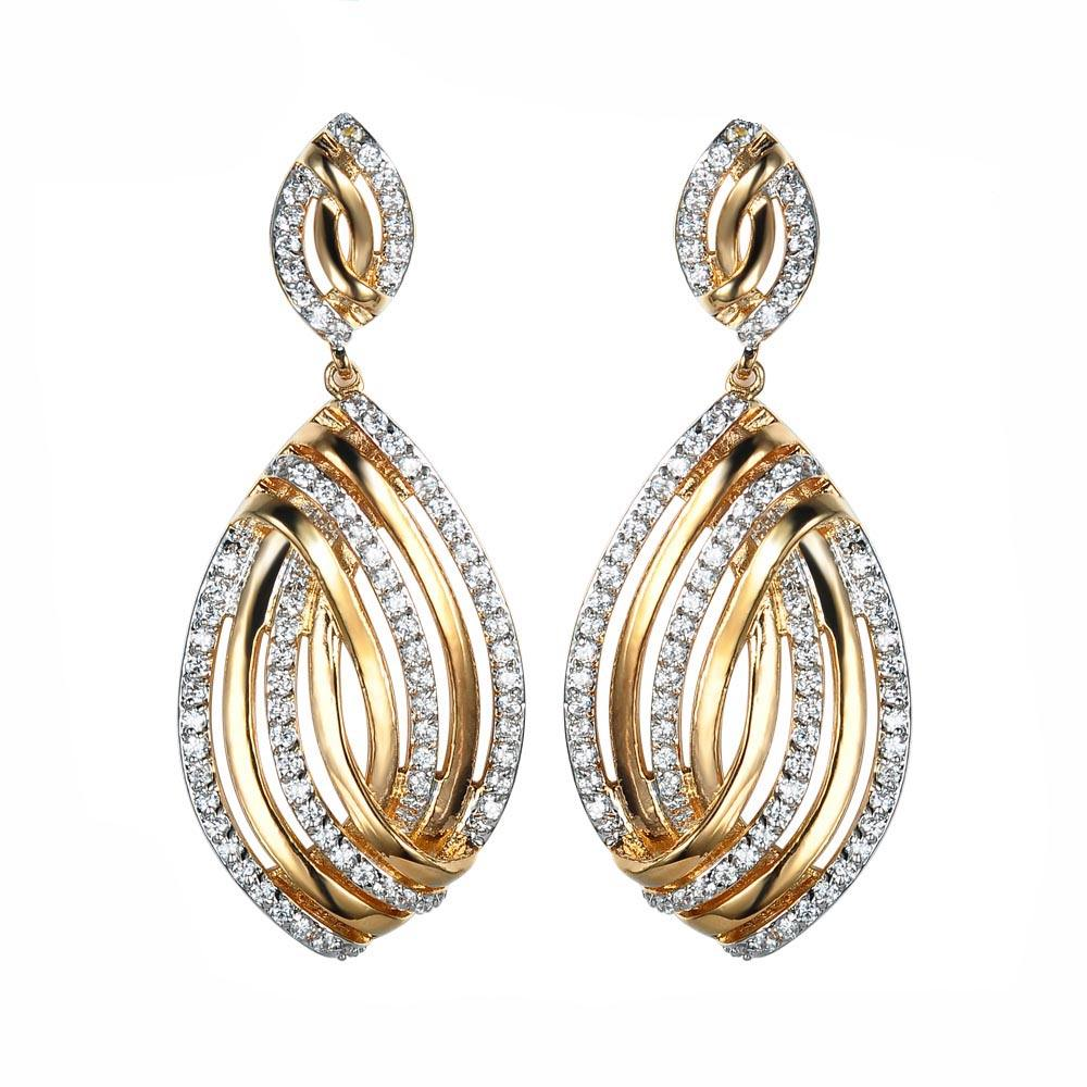 Latest cz stone studded tassel chinese suppliers of jewelry white gold drop hoop earrings