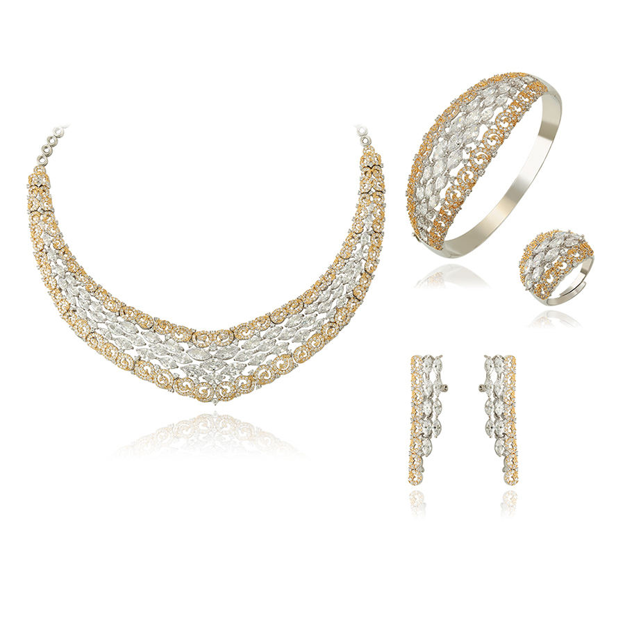 set-89 xuping brazilian gold jewelry, luxury party jewelry set, imitation diamond jewelry set