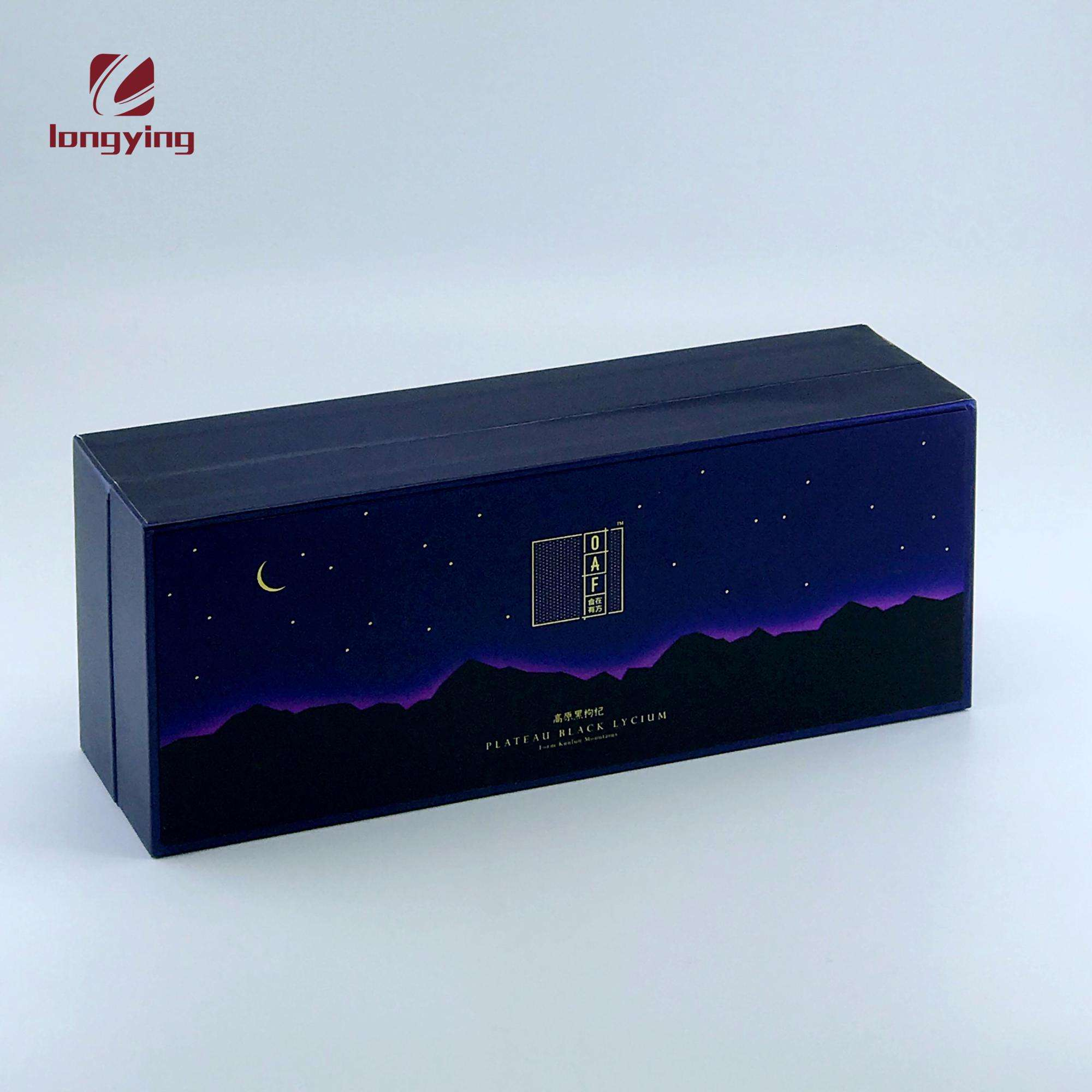 custom luxury blue starry sky flip box packaging with 5 pcs glass honey jars for honey/jam packaging boxes cardboard