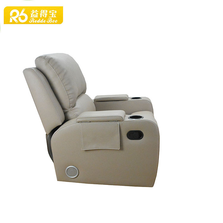 Hot selling modern KD cheers leather and fabric sofa recliner with leggett and plat metal function