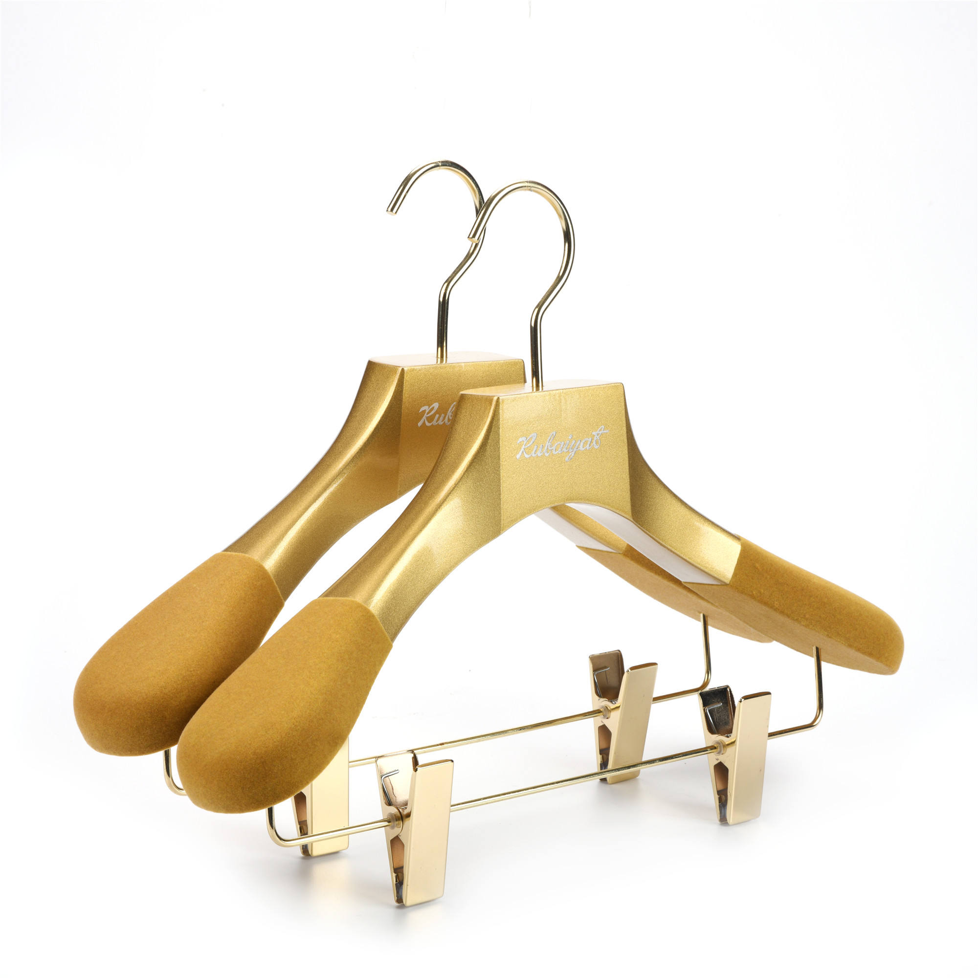 High Quality shiny gold customized garment wooden clothes coat wooden flocked hanger