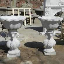 home decoration used paired carved white marble flowerpot