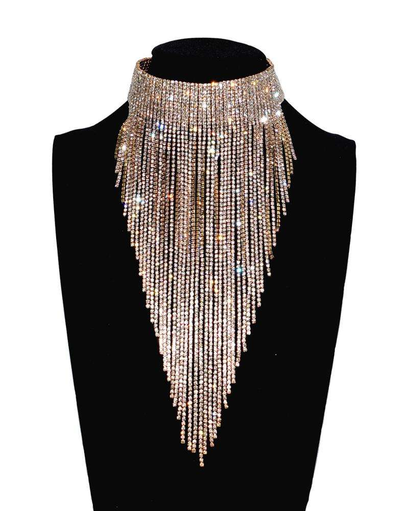 2018 Sofia Fashion Full Rhinestone Long Chain Choker Collar Statement Necklace For Women High Quality Stunning Necklace Jewelry