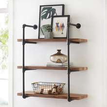Antique Industrial Wall Mount metal Iron Pipe Shelf bookcase Vintage Retro DIY Open Bookshelf home floating Storage book Shelves