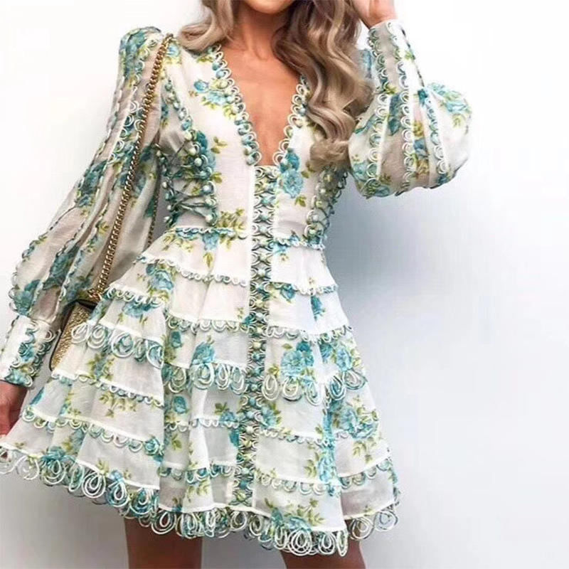 2019 dress ZIM Floral Print Cotton Lace Crochet Embroidered Mini Flare Dress V-neck Lantern Runway puff sleeves V neck dress