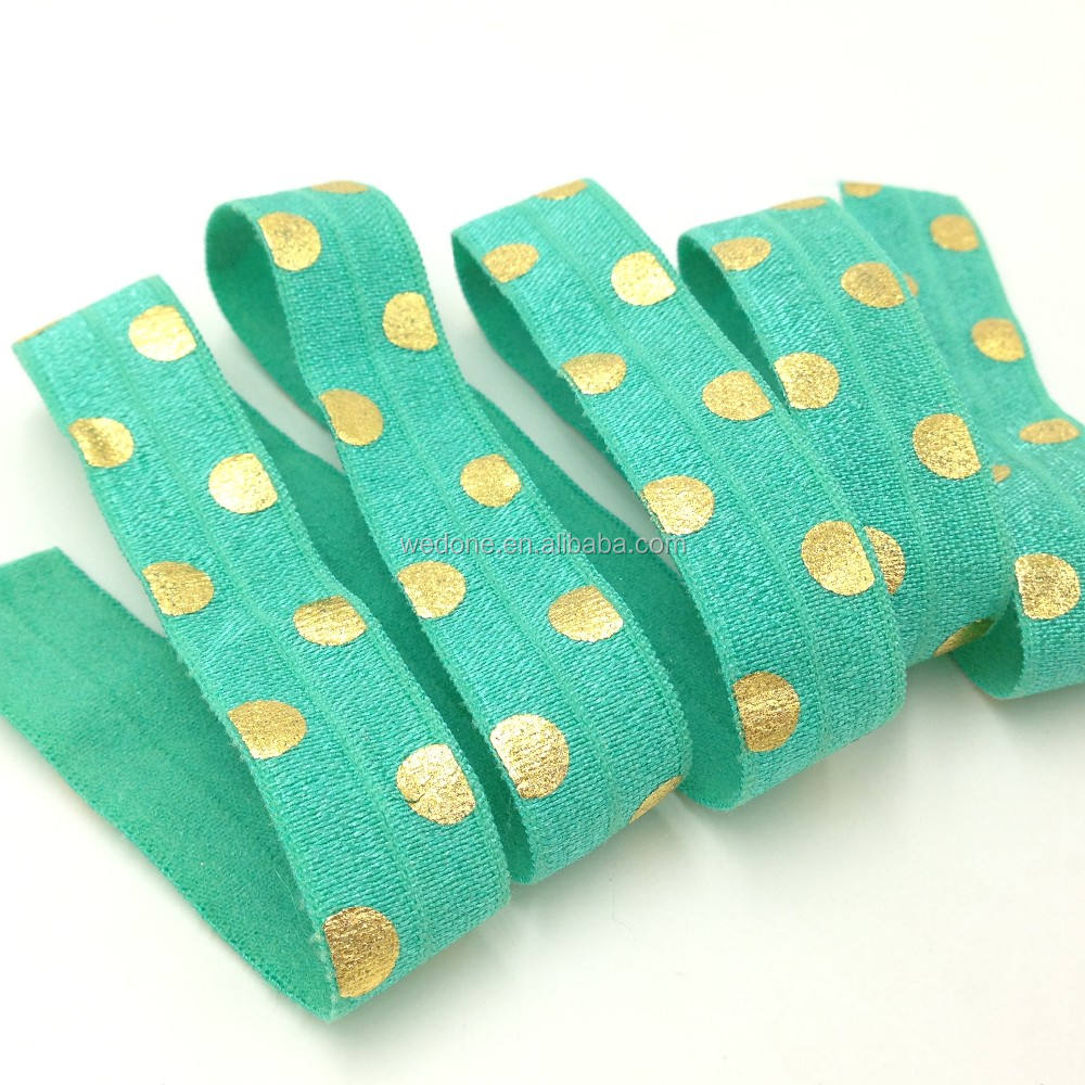 "Big Polka Dot Print Fold Over Elastic Teal FOE Ribbon 5/8"" Foldover Elastic for DIY Headwear Hair Accessories 100Y/Lot"