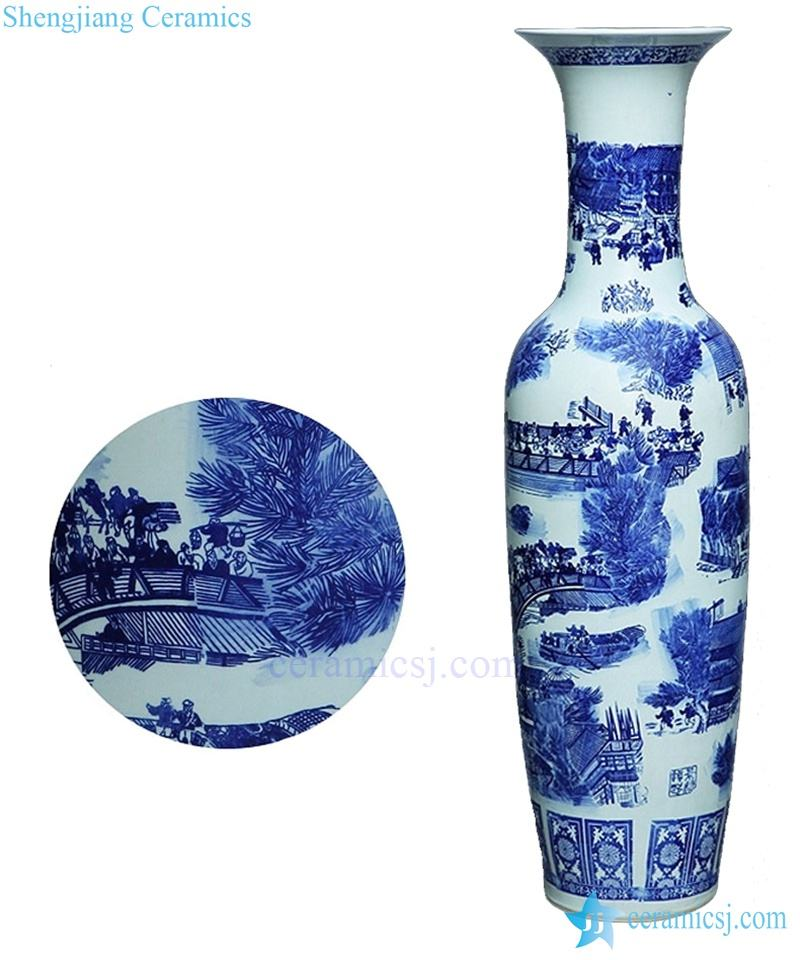 big antique chinese 60inch floor ceramic porcelain flower vase tall for office decor