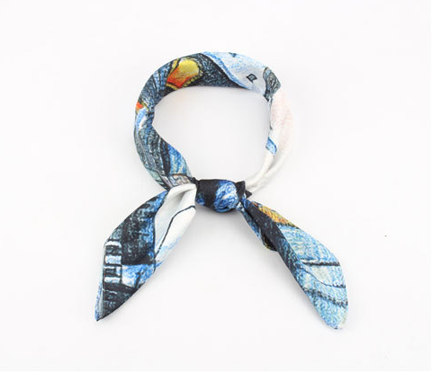 Soft Polyester Silk Outdoor Scarves Fashion Print Independent Beautiful Feathers Hair Ties Scarf Neckerchief Bandana Lady Scarves Multiple Ways Of Wearing Daily Decor