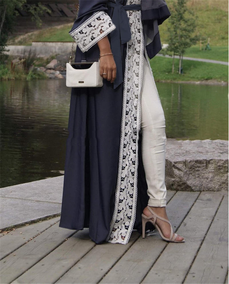 Fashion Middle Eastern Women Lace Abaya Robe Muslim Long-sleeve Loose Open Dress Cardigan