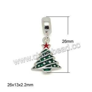 5 x Silver Plated Rhinestone Green Enamel  Christmas tree charm pendants 26mm