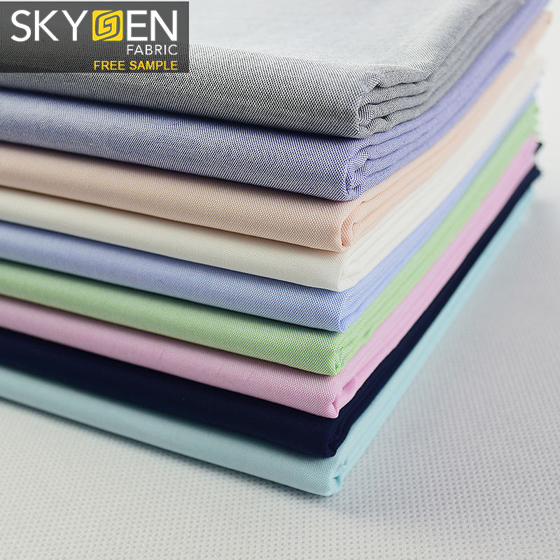Skygen new arrival 125gsm yarn-dyed oxford 100% cotton soft shirt material woven fabric textile price per meter