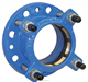Ductile iron flange adaptor PN16 with tensile resistant sealing ring for PE Pipes