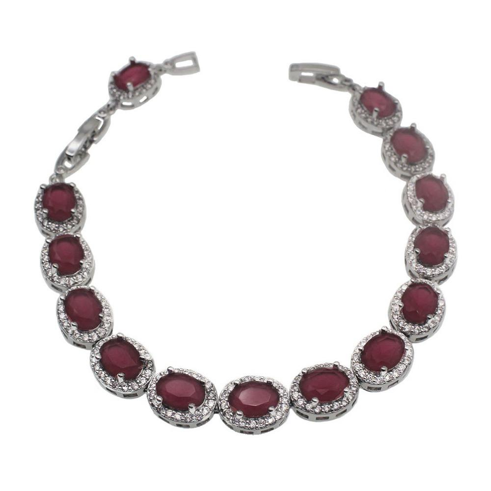 Hermosa Sterling Silver White Gold Plated,Rose Gold Plated,Multicolor Gemstone Classic Bracelet 7 to7.5 to 8