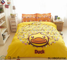 Little yellow duck child bedding sets kids bed sheet sets modern student beddings