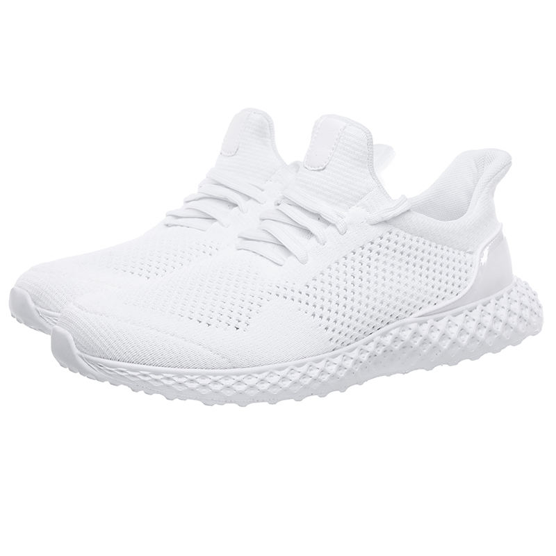 201 9 Logo custom made OEM ODM Flying woven breathable casual cross-border large size white shoes