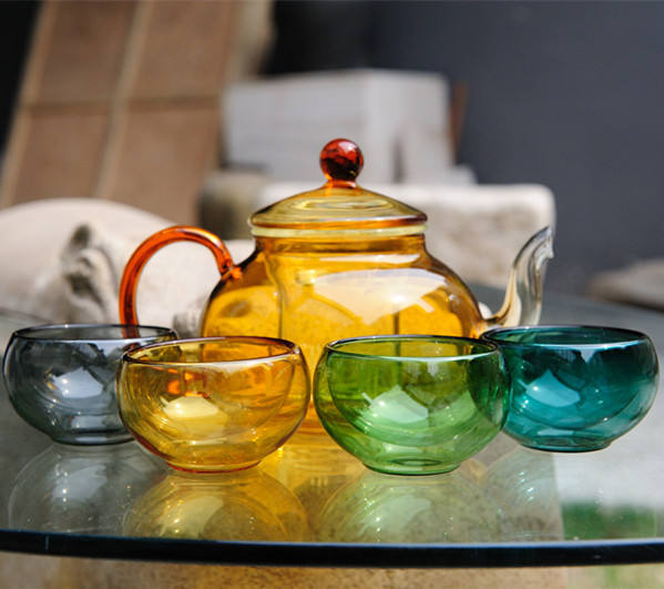 China wholesale non-toxic borosilicate glass double wall cup glass teapot set with custom print