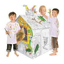 Jungle House DIY Doodle 3D Craft Cardboard Paper Play House For Kids