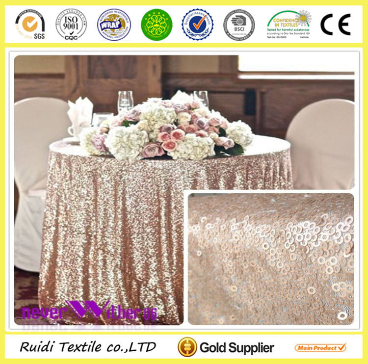 high density round/recentangle champagne blush sequin table cloth shiny table linen