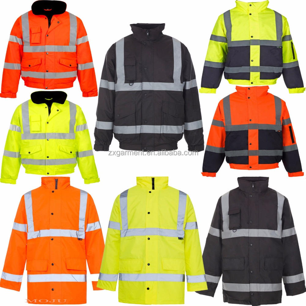 Hi Viz Vis Security Work Contractors Jacket Waterproof Padded Hooded Safety Coat