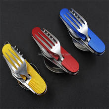 6 in 1 Folding Dinnerware Set Camping Picnic Cutlery Knife Fork Spoon Flatware Travel Tableware