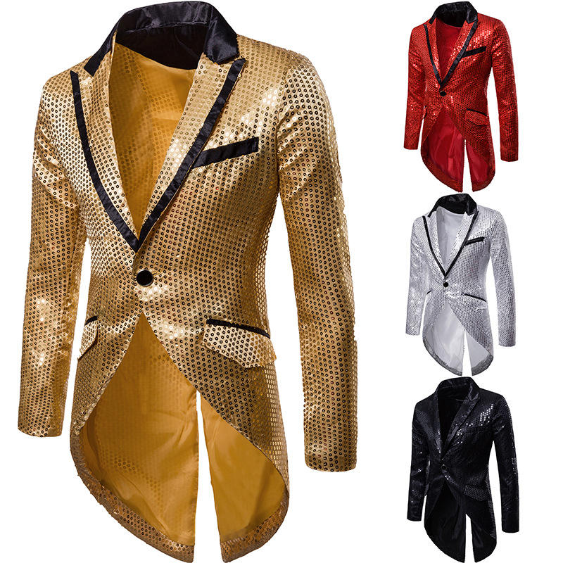 Men autumn sequins blazer tail coat nightclub men gothic punk style singer stage costume
