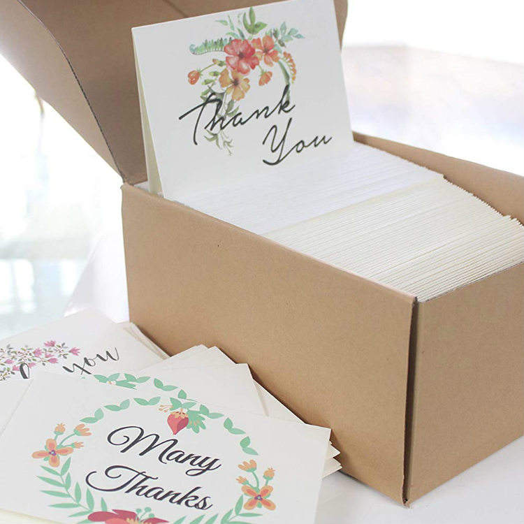 Wholesale Custom Logo Sample Blank Design Wedding Greeting Thank You Gift Notes Cards 4x6 Set with Envelopes and Pack