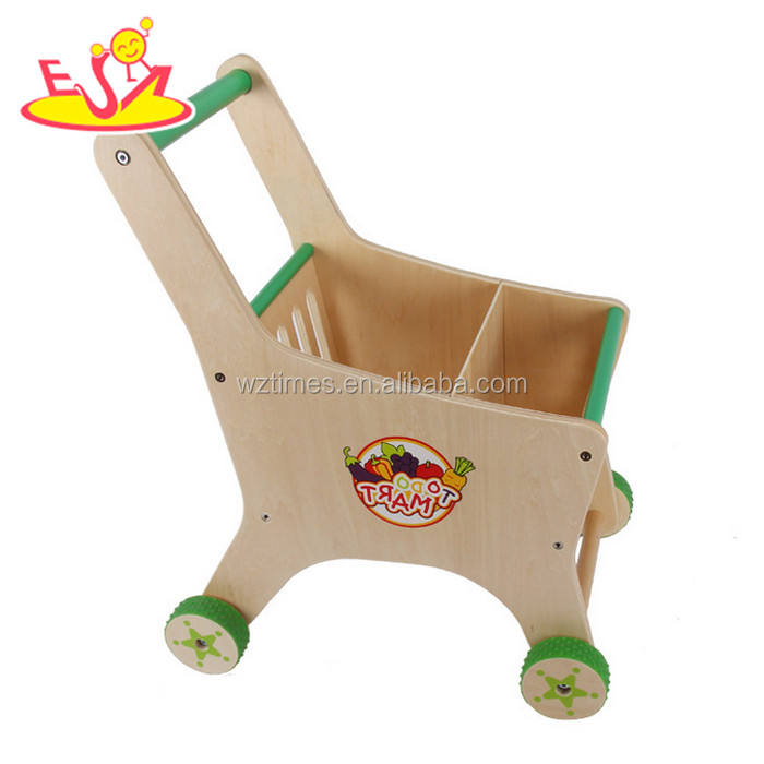 Wholesale supermarket child size wooden toy kids shopping cart W16E068-S