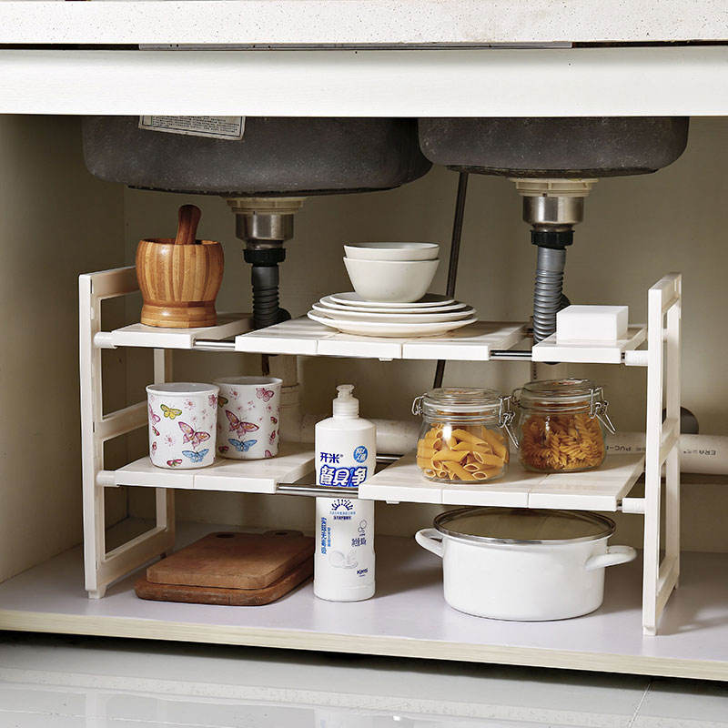 High grade 2 tier multifunctional removable board extendable fold space saving storage shelf kitchen under sink organizer