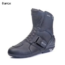 Arcx Black Leather Motorcycle Boots Motocross Riding  Shoes Touring Boots