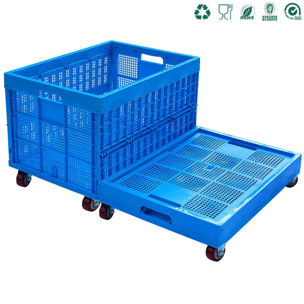 plastic storage durable fabric folding laundry packing basket crate crates with lid and wheels handle plastic