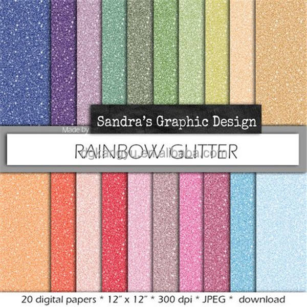 Wholesale new product adhesive Multi color DIY Scrapbook glitter paper