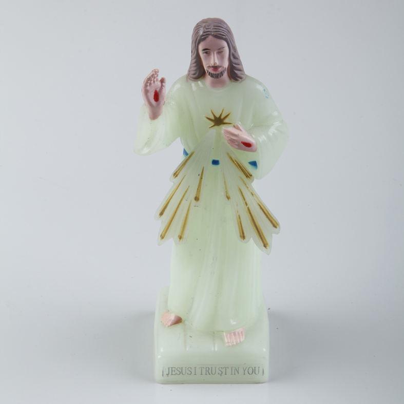 En ucuz promosyon toptan dini kutsal reçine işıklı İsa aziz heykelleri