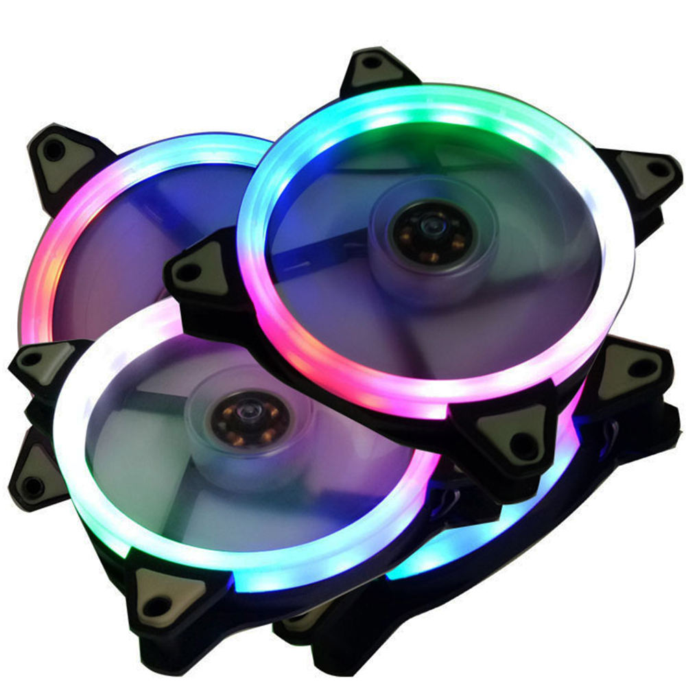 120mm Aluminum 12V DC Computer CPU Cooler SINGLE RING RGB Fan