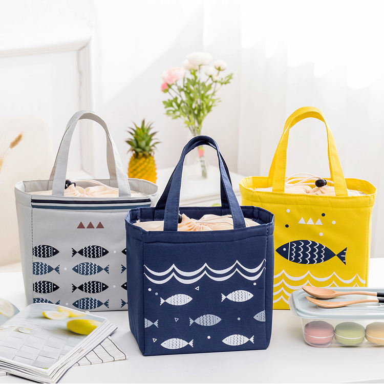 Stock wholesale stylish printing insulated cooler lunch bag waterproof lunch bag for office and school