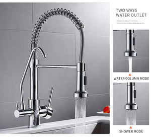 WANFAN 0192 Torneira para cozinha de parede Crane with Filter Tap 3 Ways Pull Down Purify Kitchen Faucet