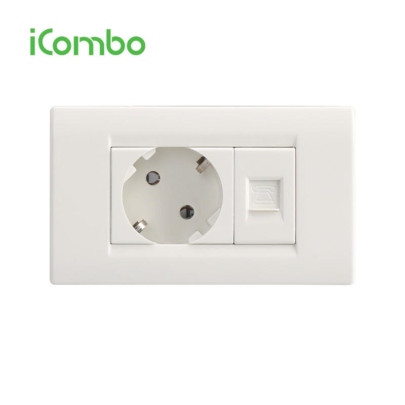 Europa O in Germania Standard a 2 Pin Presa A Muro Con Tel Socket