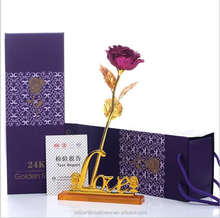 Artificial 24K golden rose flowers wholesale factory direct supply valentines day gifts