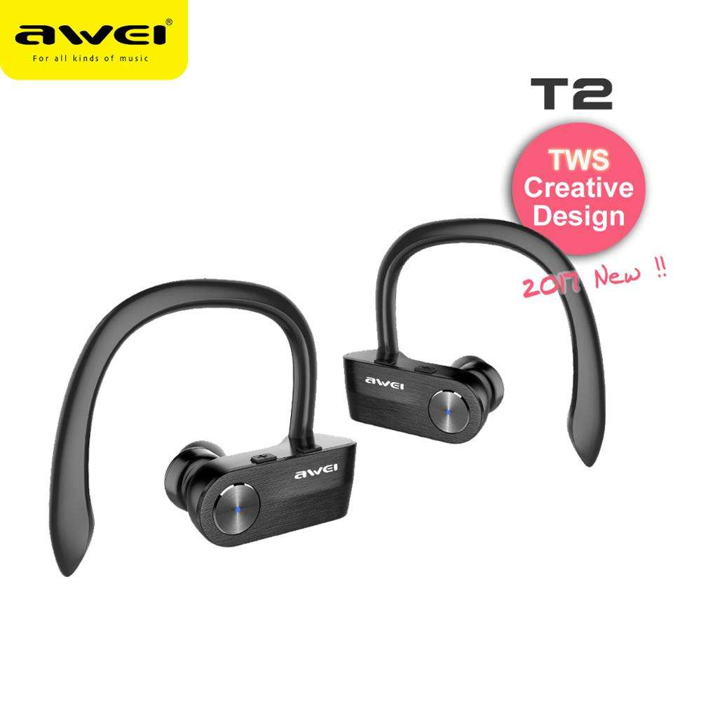 AWEI T2 Soft Silicone Replacement Magnet Mobile Phone Wireless True BlueTooth Ear Buds Factory